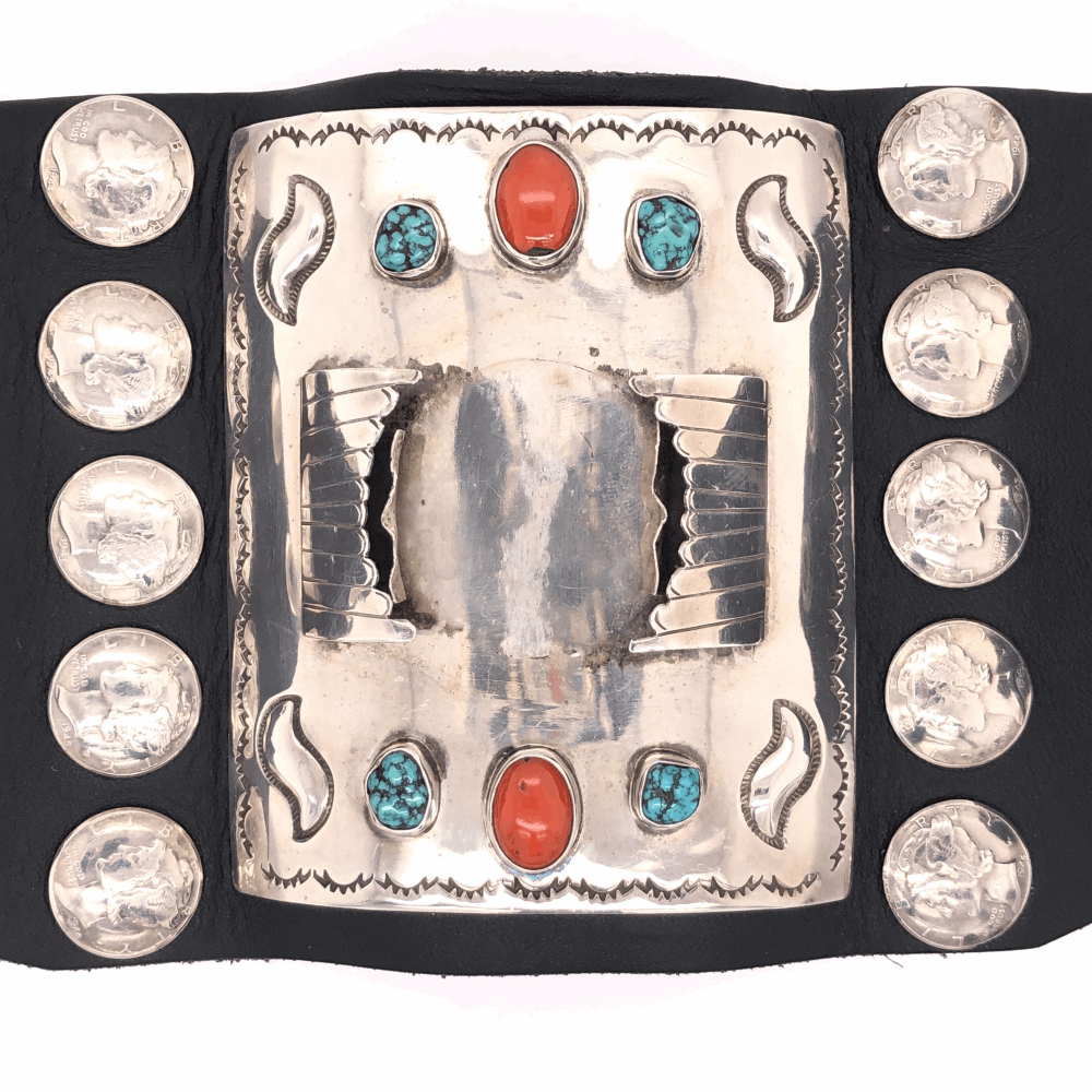 """Image 2 for 925 Sterling & Leather Vintage Mens Native Cuff, Silver Dimes, Coral & Turquoise 224.5g, 8.5"""" Wrist"""