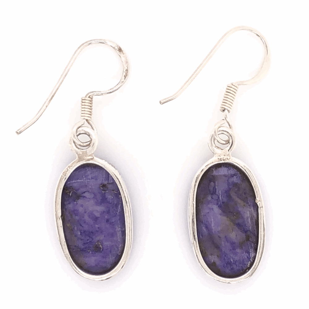 "Image 2 for 925 Sterling Vintage Native Charoite Drop Earrings with Shepard's Hooks 4.4g, 1.5"" Tall"