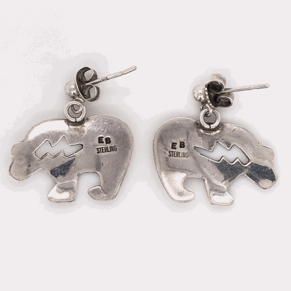 Image 2 for 925 Sterling Vintage Native HOPI Bear Earrings 2.5g Post and Friction
