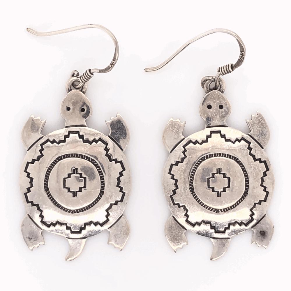 """925 Sterling Vintage Native Drop Turtle Earrings EL TOM 5.3g, 1.75"""" Tall"""