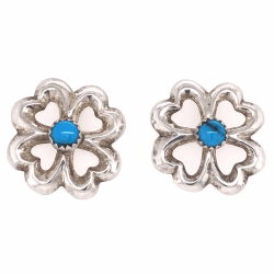 Closeup photo of 925 Sterling Vintage Native Clover Shape with Turquoise Earrings 7.6g