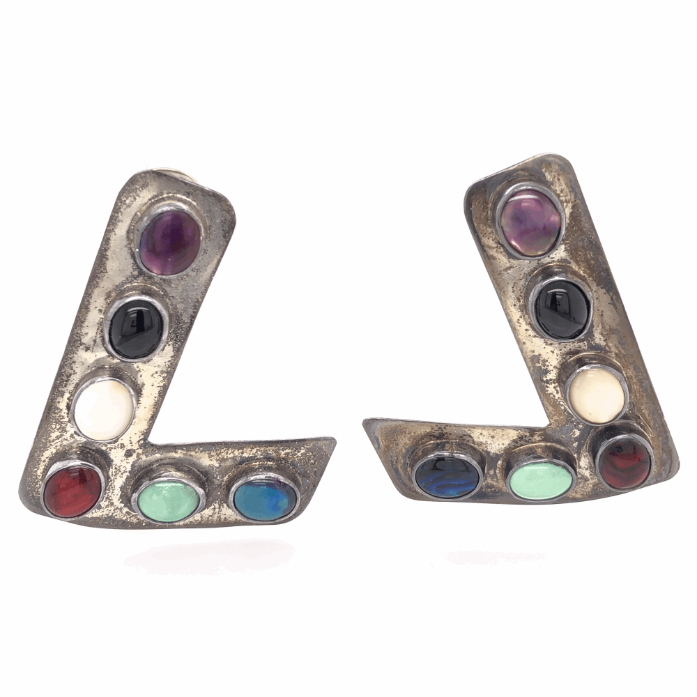 925 Sterling Vintage Native Pair of L Shaped Brooches Multi Gemstones 22.7g