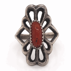 "Closeup photo of 925 Sterling Vintage Native Sand Cast Coral Ring Stamped L, 6.6g, s7.5, 1"" Wide"