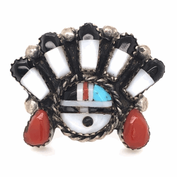 Closeup photo of 925 Sterling Vintage Native HOPI Inlay Headress Ring