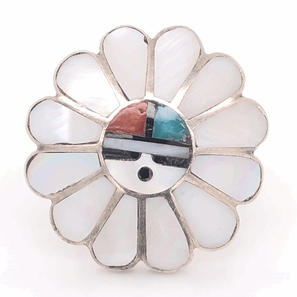925 Sterling Vintage Native HOPI Headdress Inlay Ring