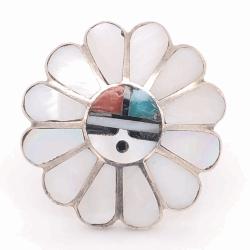 Closeup photo of 925 Sterling Vintage Native HOPI Headdress Inlay Ring