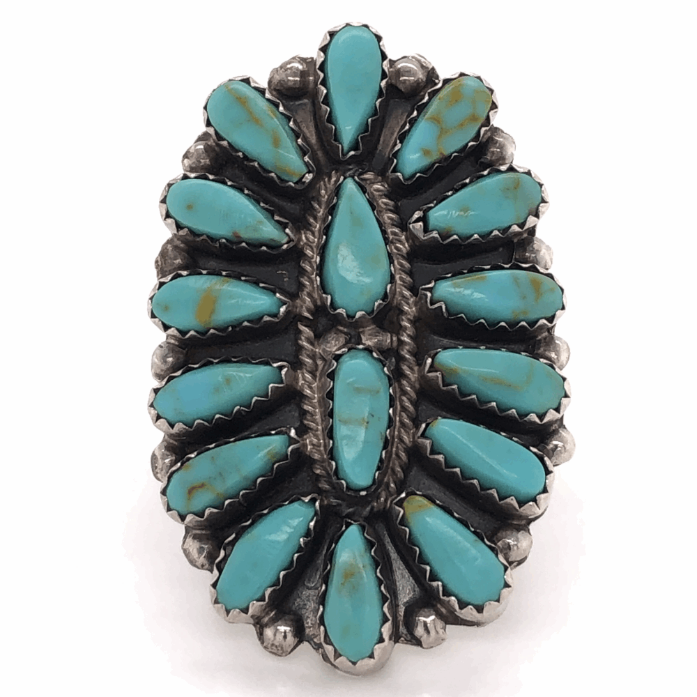 925 Sterling Vintage Native ZUNI Peti Point Turquoise Ring