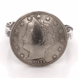 "Closeup photo of 925 Sterling Vintage Native Mens 1911 Liberty Head Ring 11.8g, s13 7/8"" Diameter"