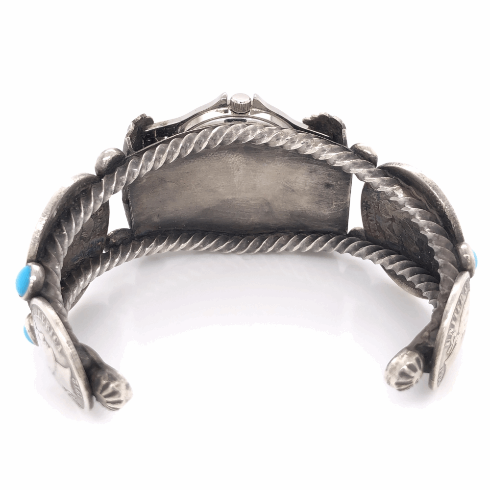 Image 2 for 925 Sterling Vintage Native Coin & Turquoise Watch Cuff 60.6g