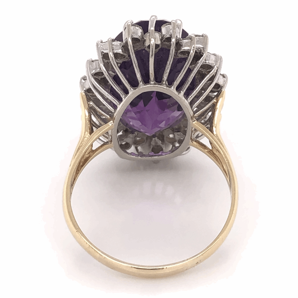 Image 2 for 18K White & Yellow Gold 19ct Oval Amethyst & 1.55tcw Halo Diamond Ring 10.7g, s
