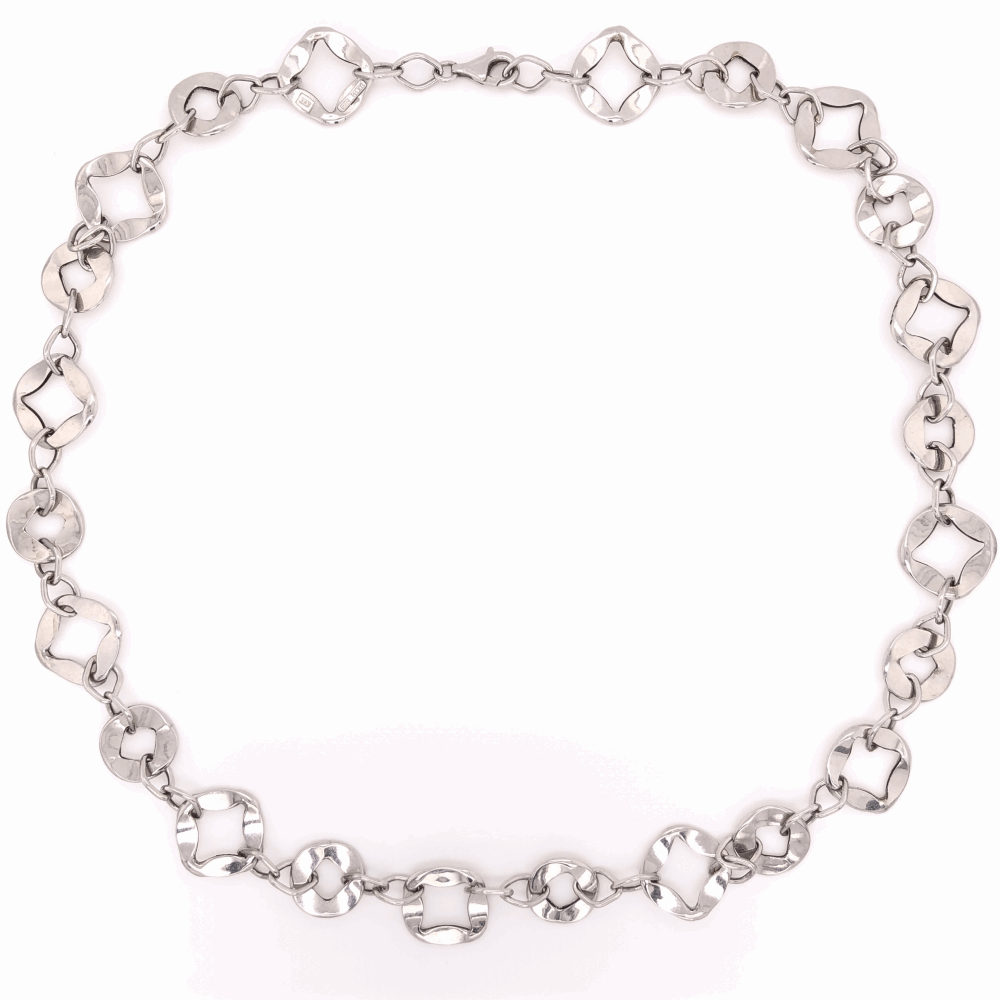 """14K White Gold Cushion Shaped Flat Open Link Necklace 10.3g, 19.5"""""""