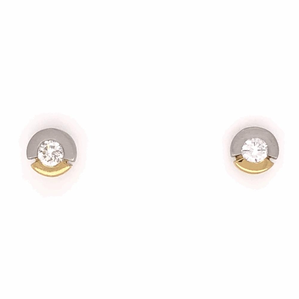 "Platinum & 18K Yellow Gold Stud Earrings .40tcw Roud Brilliant Diamonds 2.3g, .25"" Diameter"