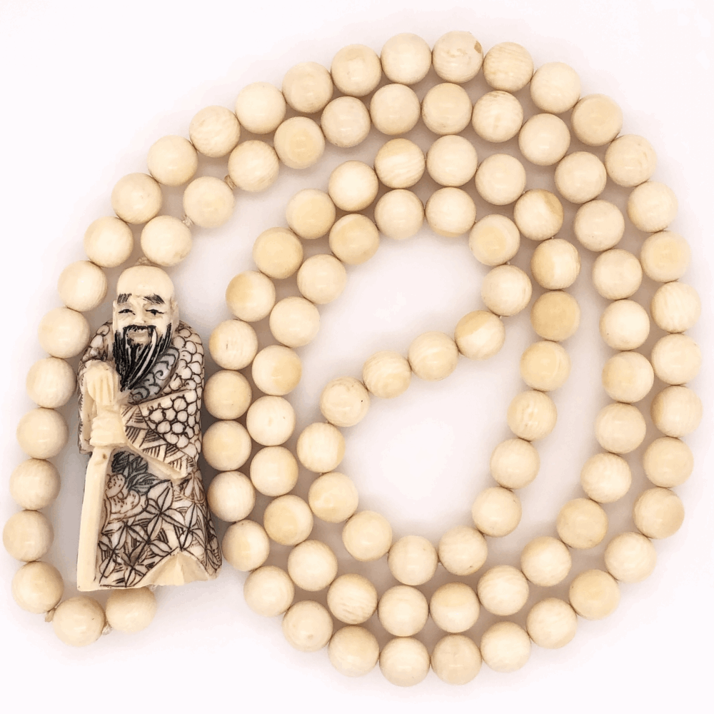 """Natural Chinese Bead & Carved Bone Necklace 56.0g, 32"""" Long"""