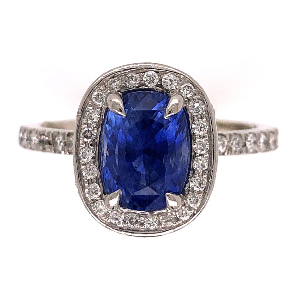 Platinum 2.00ct Oval Sapphire & .80tcw Diamond Ring 8.4g, s5
