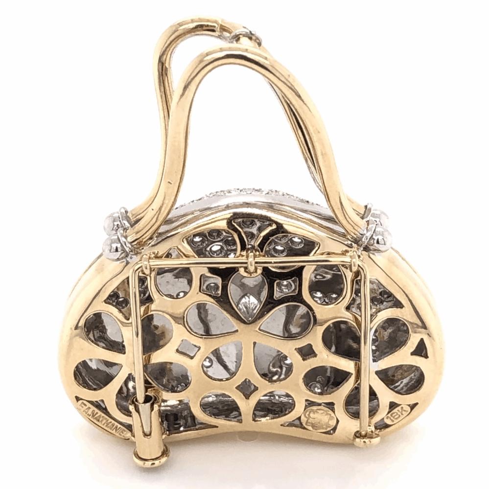 Image 2 for 18K Yellow Gold Diamond Hand Bag 2.25tcw 18.3g