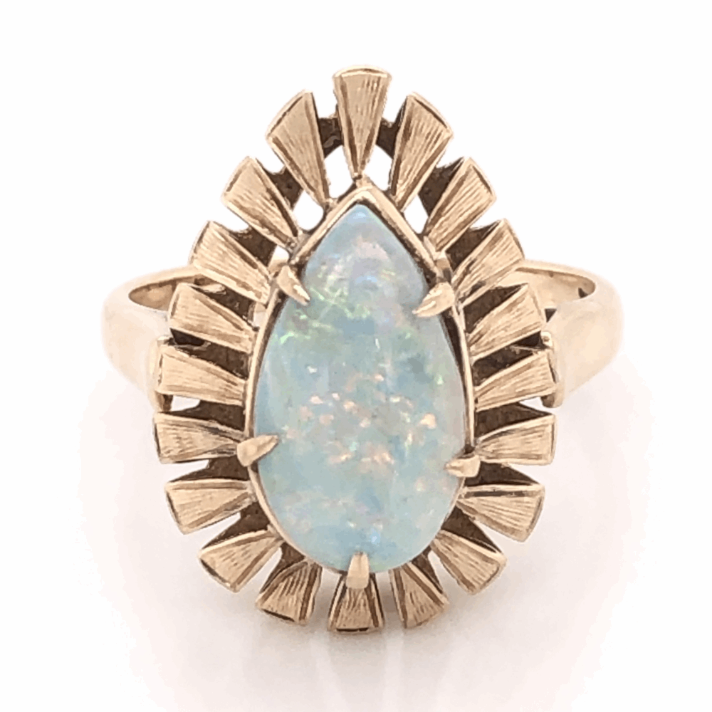 18K Yellow Gold 1960's Pear Shape 2.00ct White Opal Bombay Style Ring 4.6g, s7.5