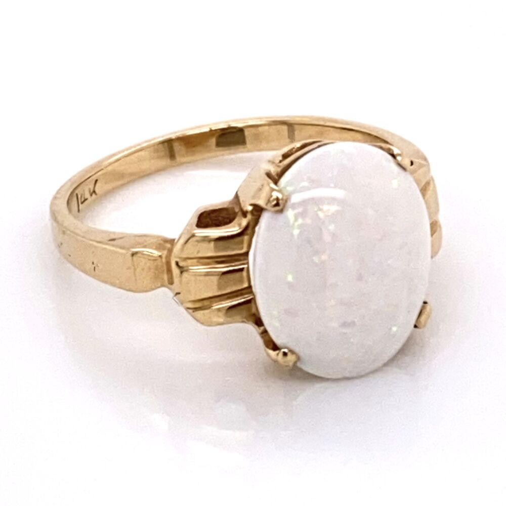 Image 2 for 14K Yellow Gold Retro 1.50ct White Opal Ring 2.5g, s5.5