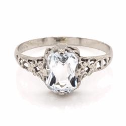 Closeup photo of 14K White Gold Art Deco Filigree .75ct Aquamarine Ring 1.0g, s4.5