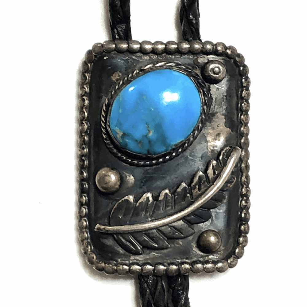 "Image 2 for 925 Sterling Native Old Pawn Bolo Tie with Turquoise 38.5g, 38"" Leather Cord"