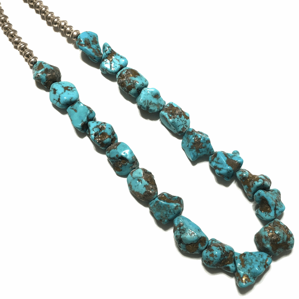 """Image 2 for 925 Sterling Native Old Pawn 20 Turquoise Nugget Necklace 152g, 20"""""""