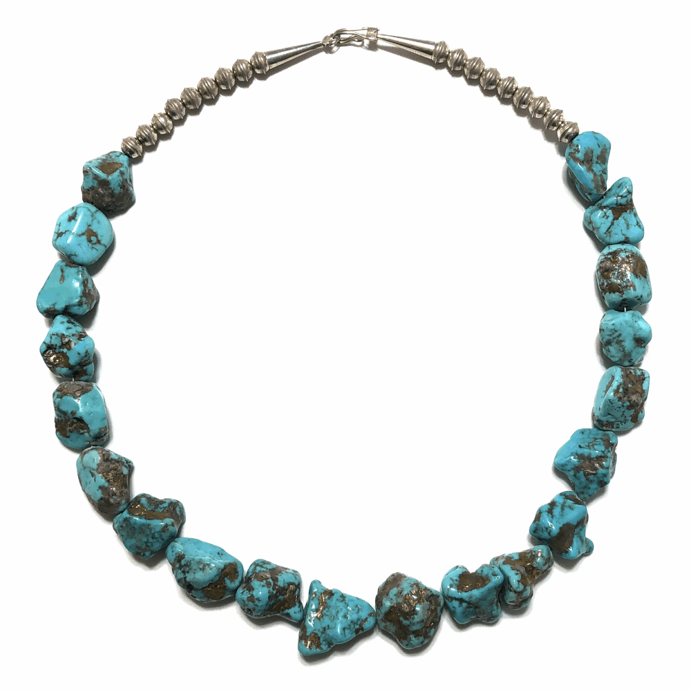 """925 Sterling Native Old Pawn 20 Turquoise Nugget Necklace 152g, 20"""""""
