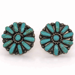 "Closeup photo of 925 Sterling Native Old Pawn Zuni Petit Point Turquoise Stud Earrings 1"" Diameter"