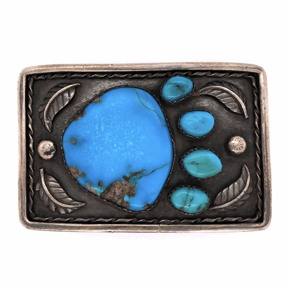 """925 Sterling Native Old Pawn Turquoise Bear Paw Belt Buckle 76.0g, 3 x 2"""""""
