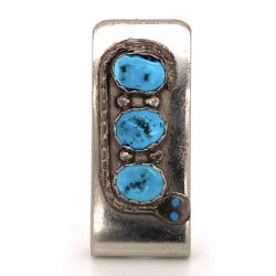 "Closeup photo of 925 Sterling Native Old Pawn Money Clip with Serpent Design & Turquoise 18.9g, 1.75x.75"" Dimensions"