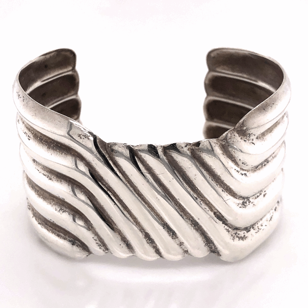 "925 Sterling Native 5 Row Sterling Cuff 39.3g, 1.5"" Wide"