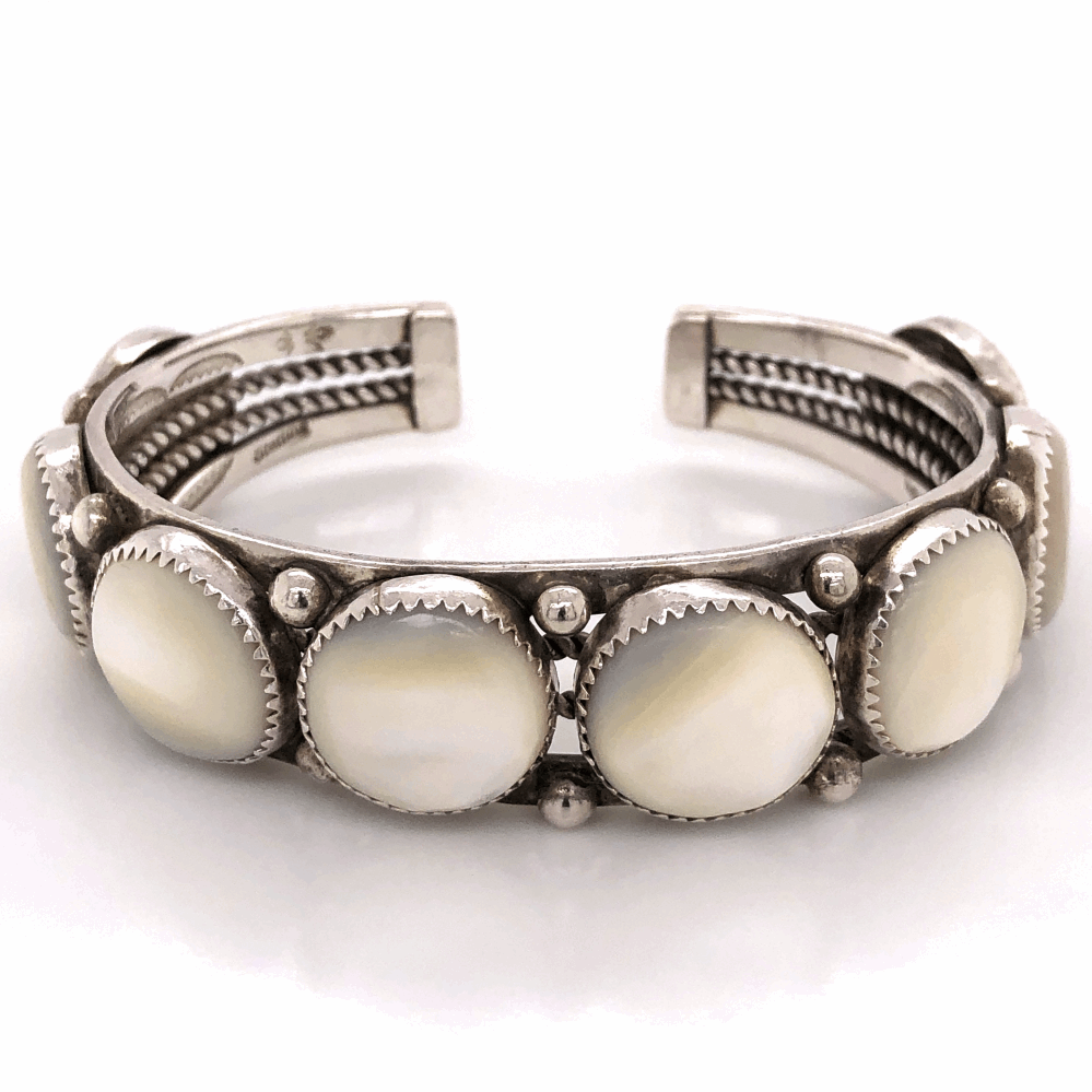 """925 Sterling Native 8 Station Mother of Pearl Cuff Bracelet 45.4g, .75"""" wide, s7.25"""