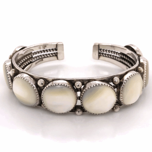 """Closeup photo of 925 Sterling Native 8 Station Mother of Pearl Cuff Bracelet 45.4g, .75"""" wide, s7.25"""
