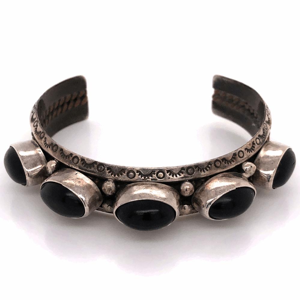 "925 Sterling Native Old Pawn 5 Black Onyx Cuff Bracelet 33.5g, 5/8"" Wide"