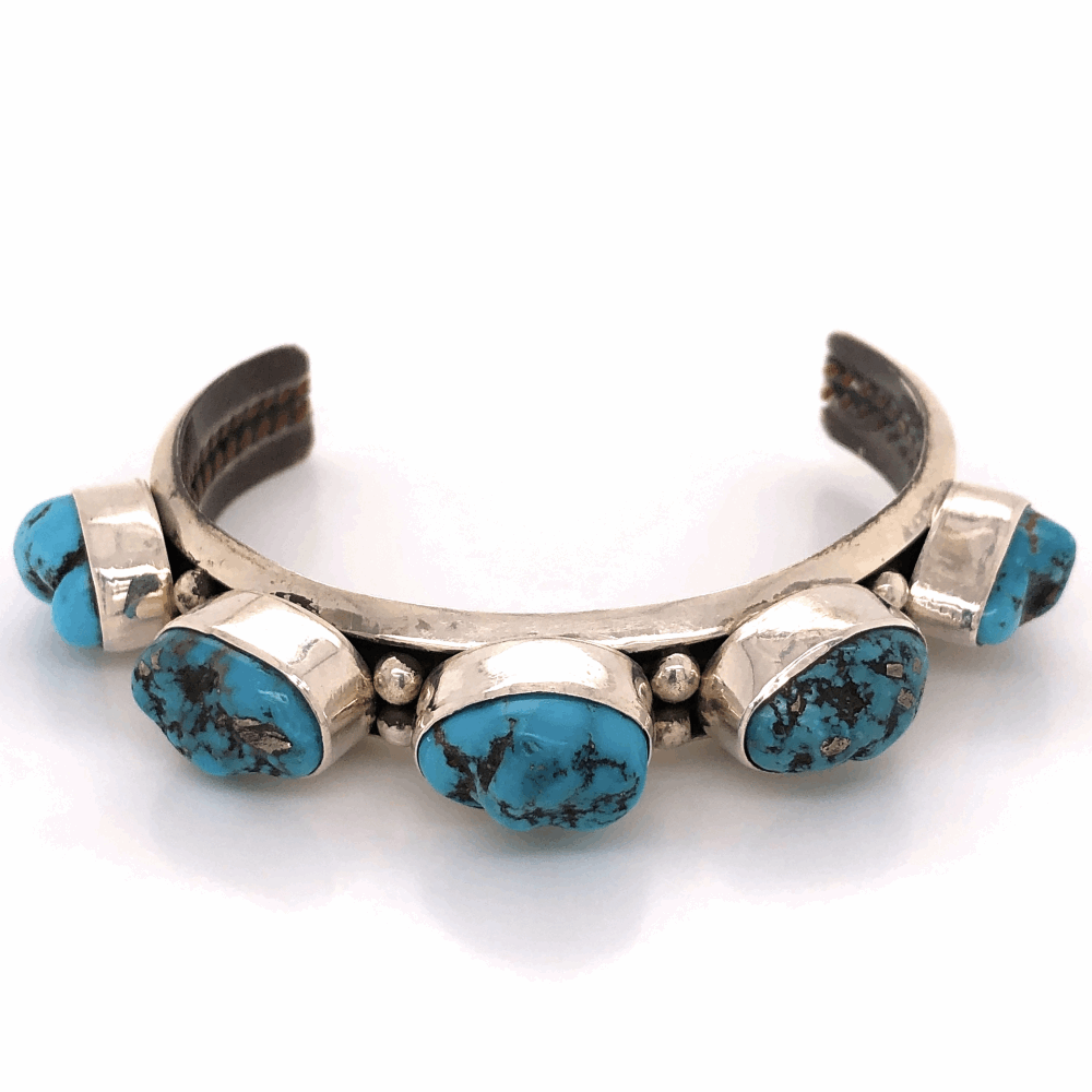 "925 Sterling Native Old Pawn 5 Station Turquoise Nugget Cuff Bracelet 41.6g, .5"" Wide"