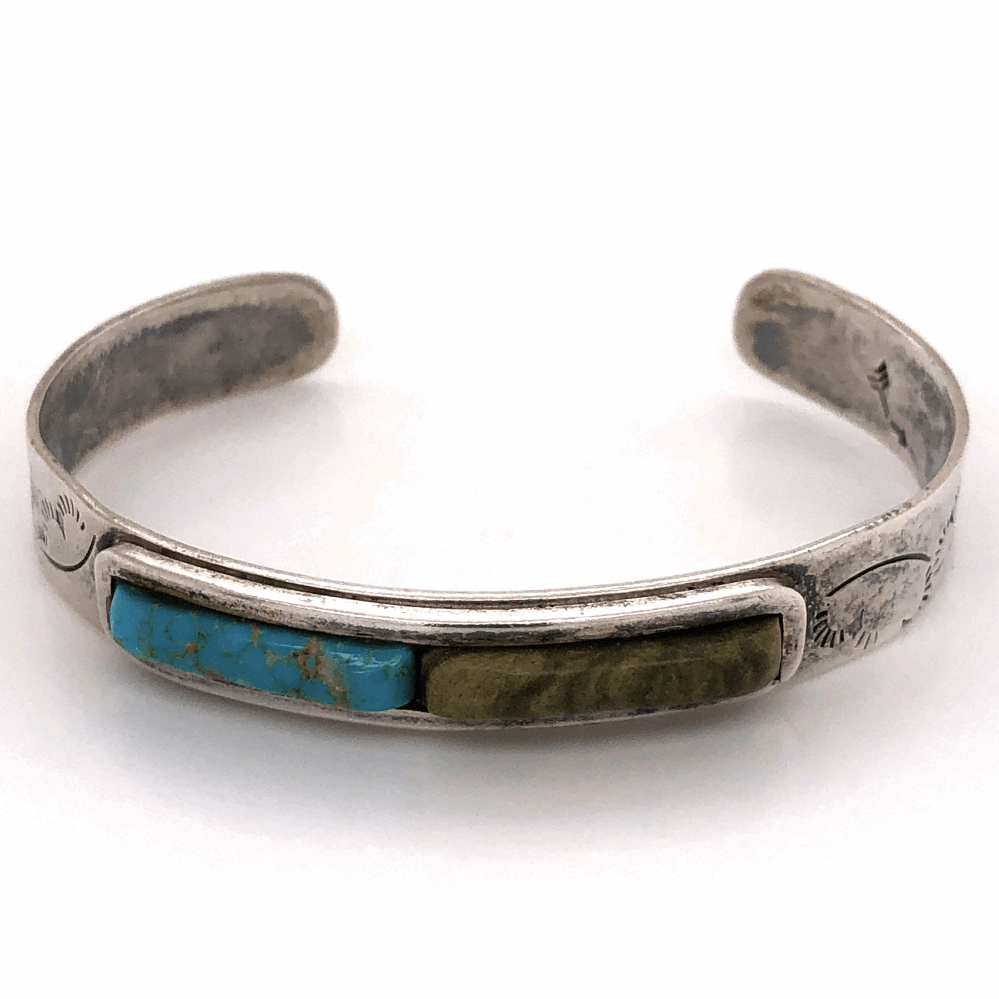 "925 Sterling Native Old Pawn Turquoise & Green Stone Cuff Bracelet 16.1g, 3/8"" Wide"