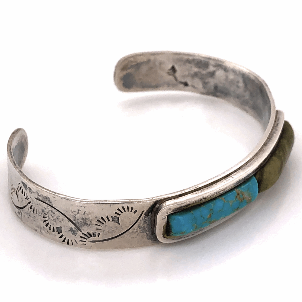 "Image 2 for 925 Sterling Native Old Pawn Turquoise & Green Stone Cuff Bracelet 16.1g, 3/8"" Wide"
