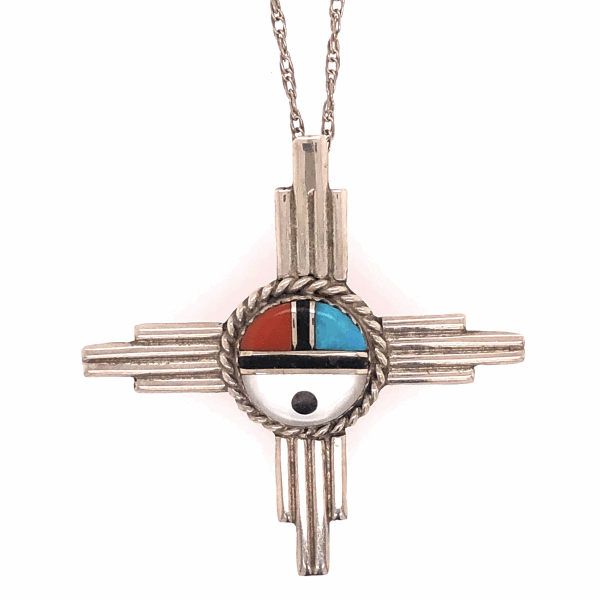 """Closeup photo of 925 Sterling Native Old Pawn HOPI Turquoise, Coral, MOP & Onyx Pendant Necklace 6.5g, 1.75"""" Diameter, 19"""" Chain"""