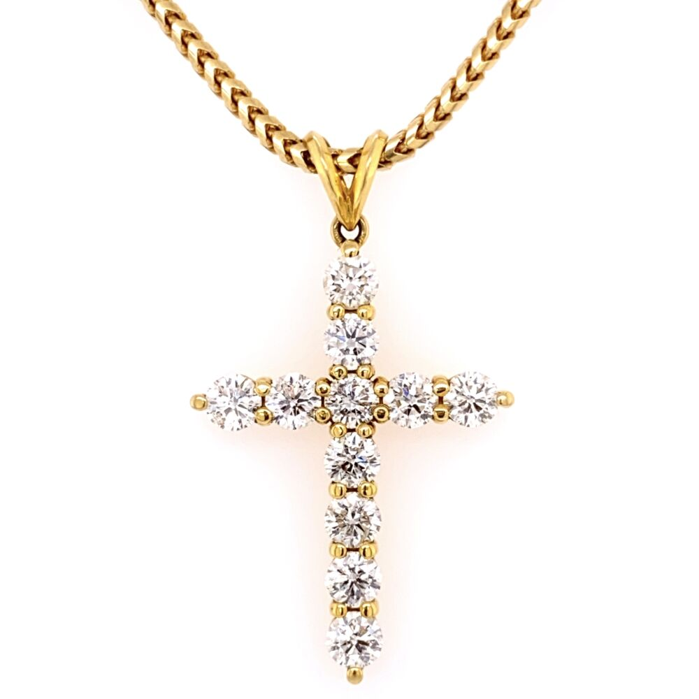 """Image 2 for 18K Yellow Gold Diamond Cross Necklace 3.00tcw, 23.1g 1.5"""" Tall on Substantial 23"""" Chain"""