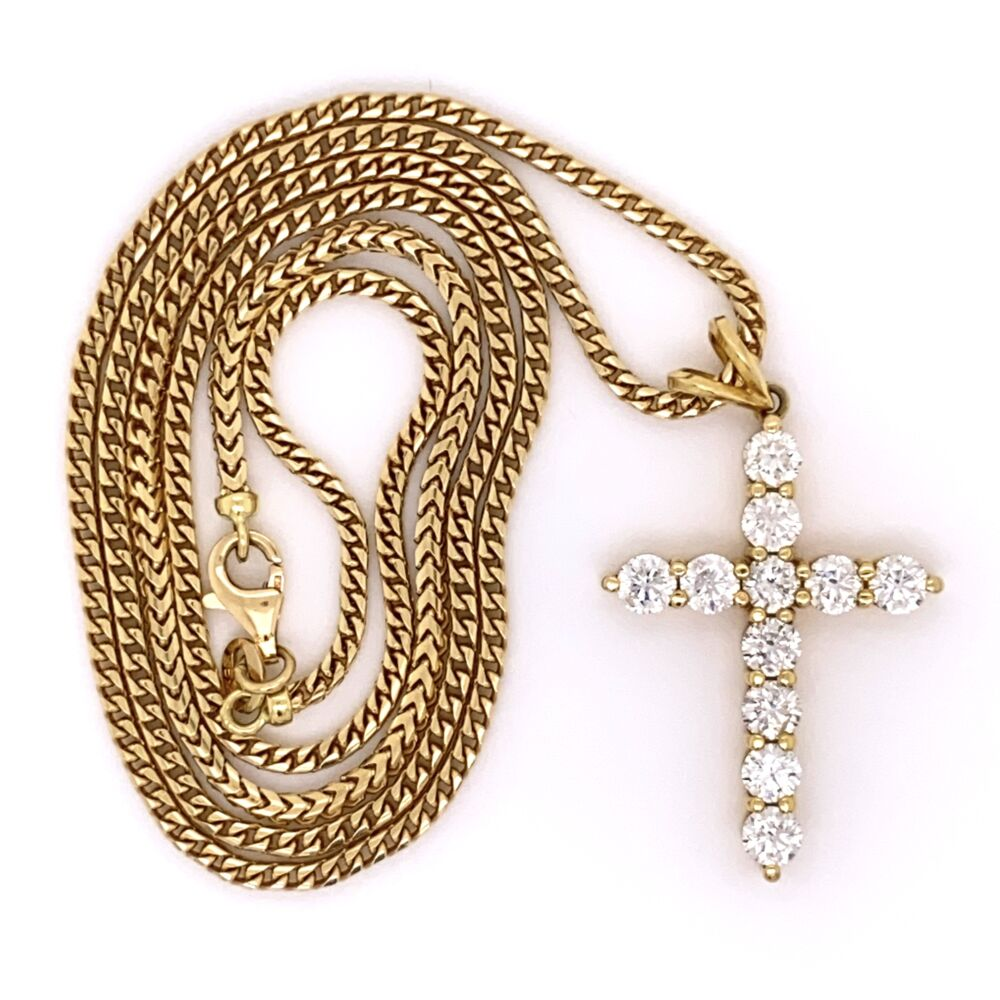 """18K Yellow Gold Diamond Cross Necklace 3.00tcw, 23.1g 1.5"""" Tall on Substantial 23"""" Chain"""