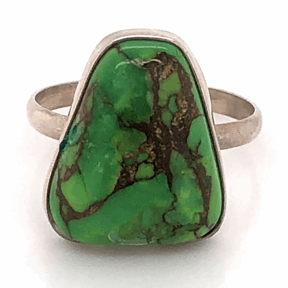 925 Sterling Old Pawn Native Green Turquoise Ring 2.7g, s6.5