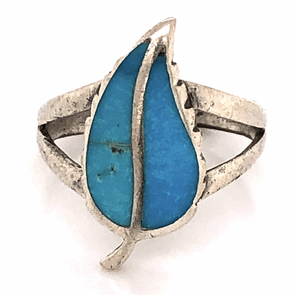 925 Sterling Old Pawn Native Split Shank Turquoise Inlay Leaf Ring 2.7g, s6