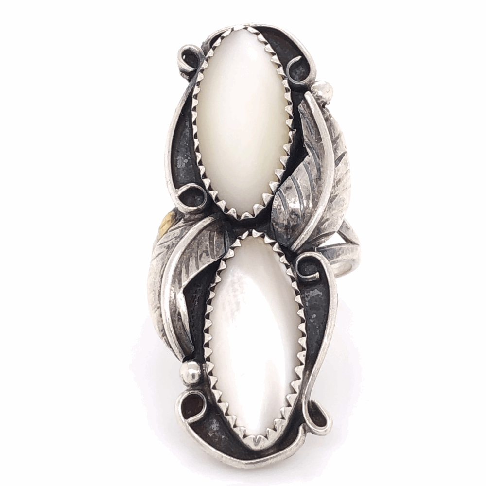925 Sterling Old Pawn Native 2 Oval Mother of Pearl Ring 6.6g,