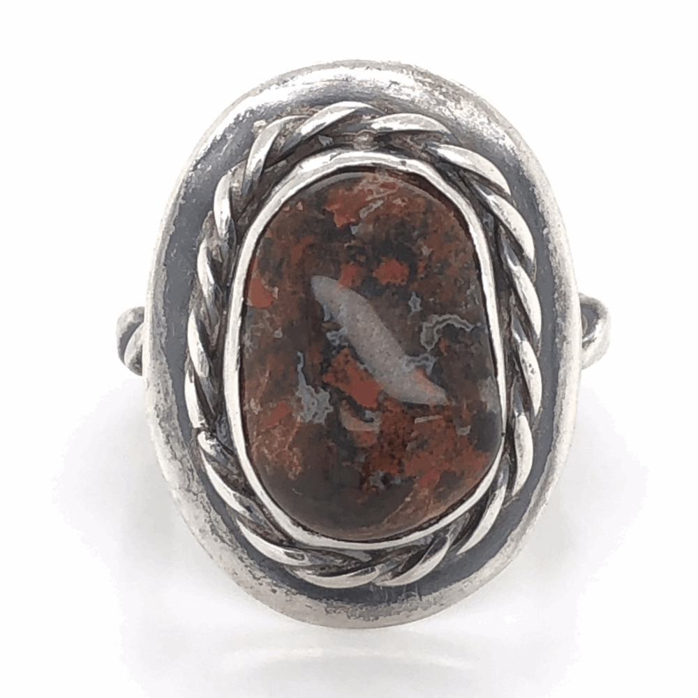925 Sterling Old Pawn Native Bloodstone with Rope Halo Ring 8.0g, s7