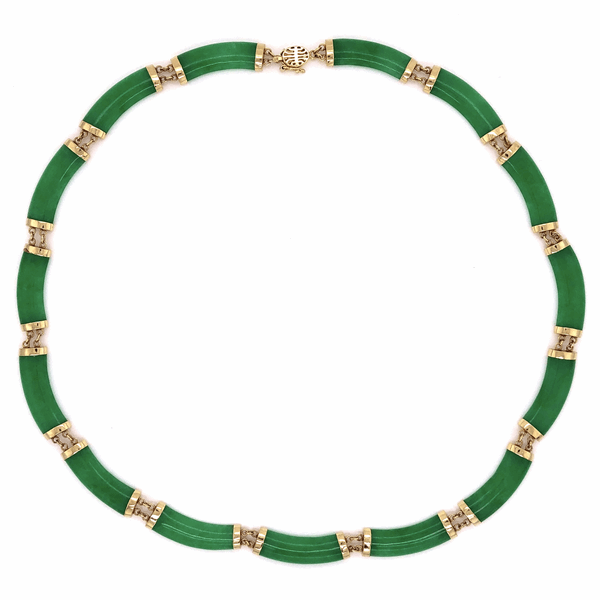 """Closeup photo of 14K Yellow Gold 1960's Chinese Jade 15 Piece Necklace 2g, 15"""""""