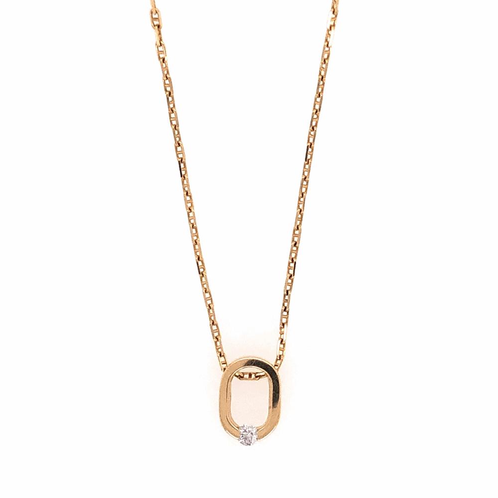 "14K Yellow Gold COFFIN & TROUT Open ""0"" Diamond Pendant .07tcw 3.4g 18"" Chain"