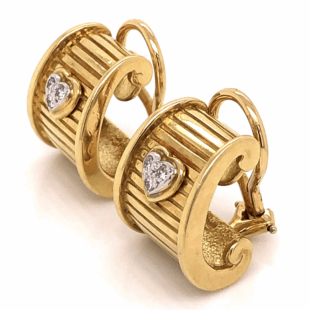 Image 2 for 18K Yellow Gold RG DWK Diamond Heart Earrings .12tcw 15.9g with French Clips