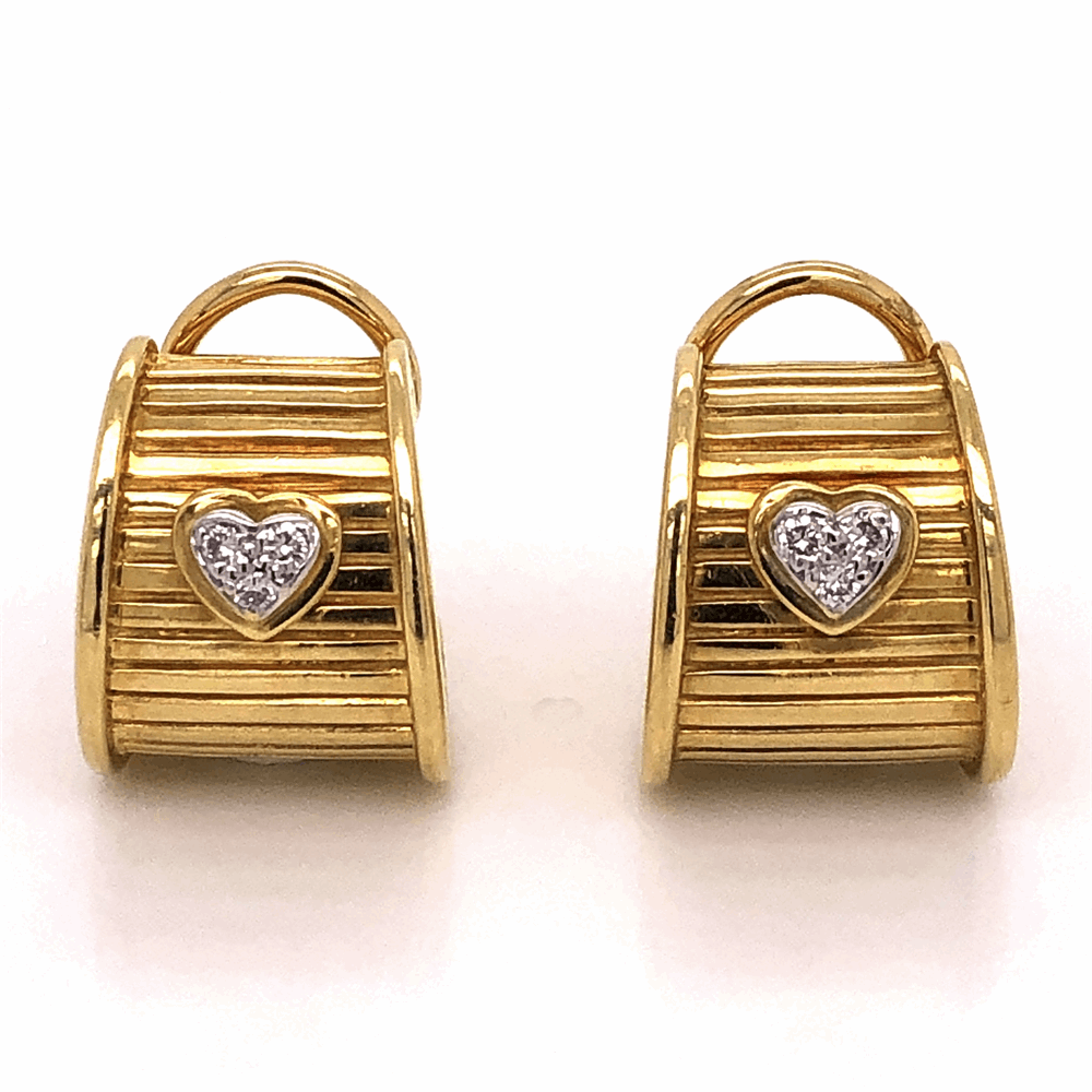 18K Yellow Gold RG DWK Diamond Heart Earrings .12tcw 15.9g with French Clips