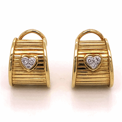 Closeup photo of 18K Yellow Gold RG DWK Diamond Heart Earrings .12tcw 15.9g with French Clips