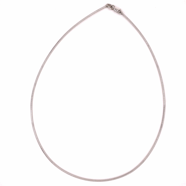 """Closeup photo of 14K White Gold ITALIAN 1.4mm Thin Omega Chain Necklace 16"""""""