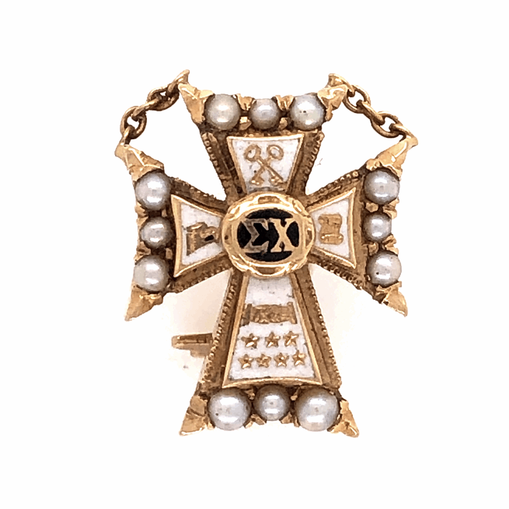 14K Yellow Gold Sigma Chi Cross Badge Brooch Pin 2.8g Enamel & Seed Pearls