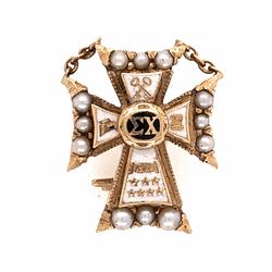 Closeup photo of 14K Yellow Gold Sigma Chi Cross Badge Brooch Pin 2.8g Enamel & Seed Pearls